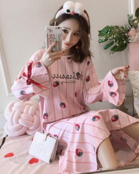 Milk silk autumn and winter pajamas homewear night dress a set