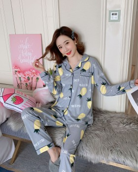 Korean style long sleeve milk silk pajamas a set for women