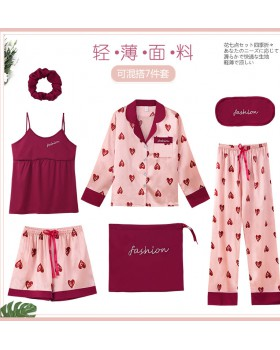 Lovely autumn and winter pajamas 7pcs set for women