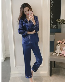 Cotton homewear imitation silk pajamas 2pcs set for women
