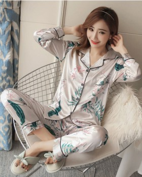 Cotton imitation silk pajamas 2pcs set for women