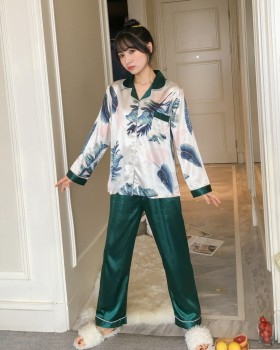 Long sleeve silk pajamas 2pcs set for women