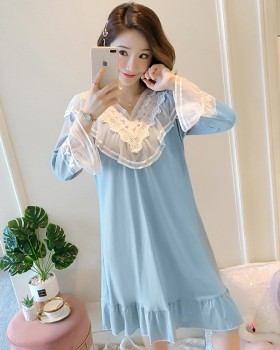 Lace cotton autumn and winter homewear pajamas 2pcs set for women