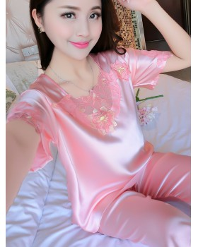 Homewear imitation silk sexy pajamas 2pcs set for women
