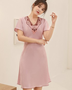 Imitation silk thin pajamas sexy skirt for women