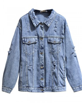 Slim large yard denim fat coat loose holes autumn tops