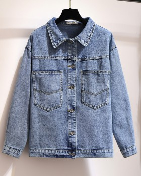 Autumn denim printing patch tops large yard fat slim coat