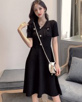 Slim summer knitted pinched waist dress
