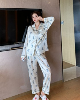 Homewear imitation silk pajamas 2pcs set for women