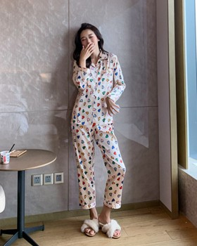 Imitation silk homewear pajamas 2pcs set