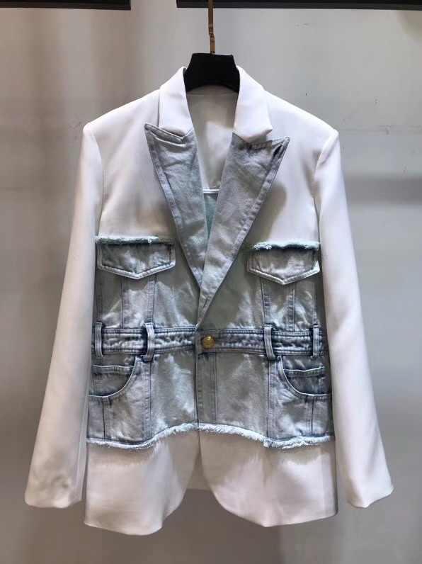 Loose denim coat stitching washed business suit