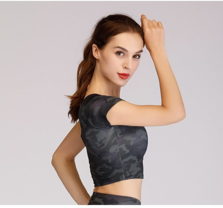 Navel sports wicking T-shirt yoga fitness tops