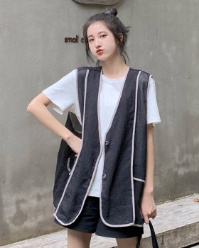 Single-breasted thin vest loose coat for women