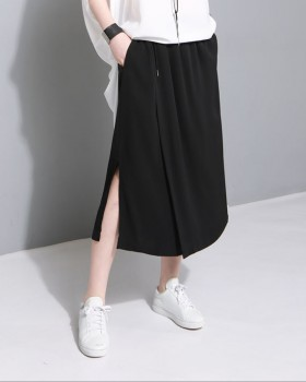 Drape skirt small split wide leg pants for women