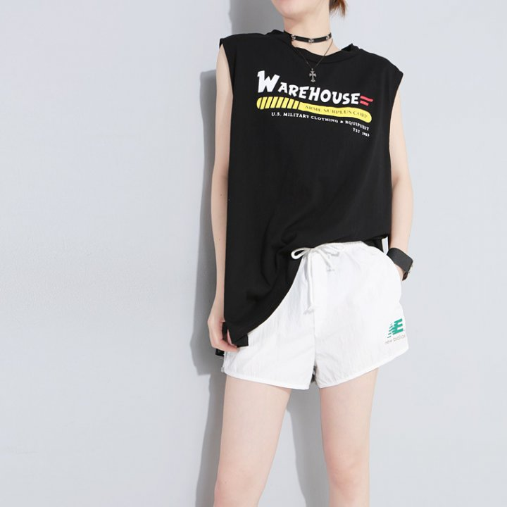 Sleeveless round neck printing summer T-shirt for women