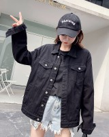 Black coat Korean style denim jacket for women