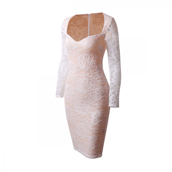 Sexy autumn and winter lace pure V-neck dress for women