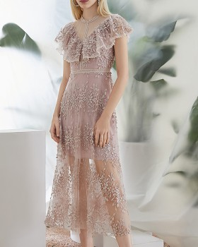 Lady slim long summer pinched waist lace dress