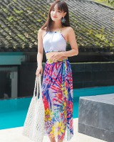 Gather summer separate vacation swimwear 3pcs set for women
