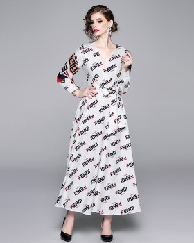 Big skirt V-neck frenum temperament printing dress
