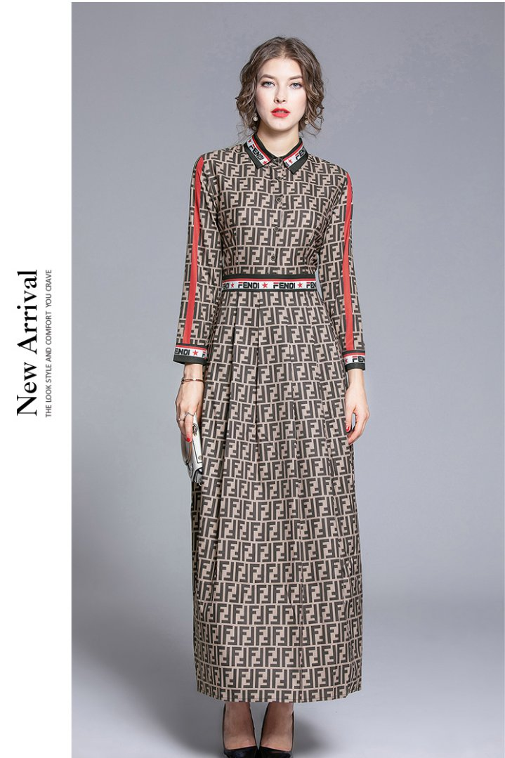 European style all-match fashion slim printing dress