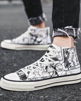 Autumn rubber winter canvas graffiti pattern shoes