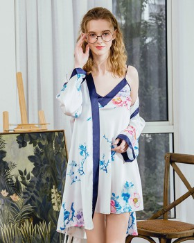 Summer silk sling pajamas 2pcs set for women