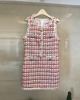 Buckle weave vest autumn and winter coarse flower dress