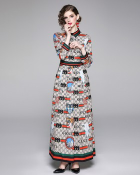Printing fashion slim all-match European style dress