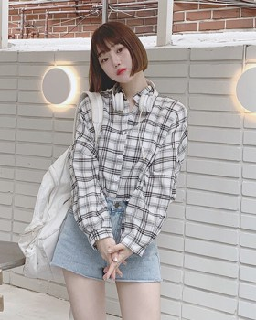 Plaid all-match college style Korean style long sleeve shirt