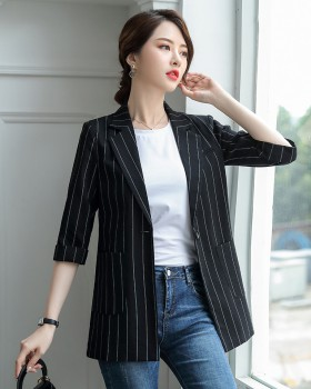 Korean style fashion coat Casual stripe business suit