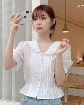 Wood ear Korean style maiden lovely summer ghost pure shirt