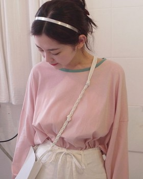 Mixed colors lovely loose maiden Korean style T-shirt