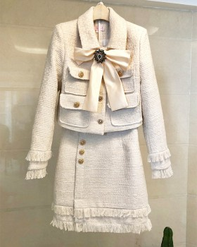 Autumn and winter short skirt woolen coat a set for women