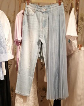 Worn summer long pants denim gauze nine pants for women
