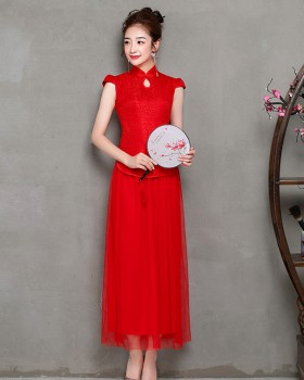 Chinese style long formal dress large yard evening dress