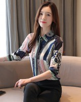 Temperament printing loose slim real silk shirt for women