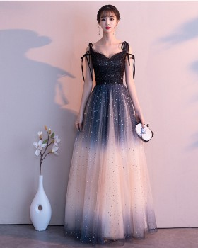 Noble host long dress starry sky gradient evening dress
