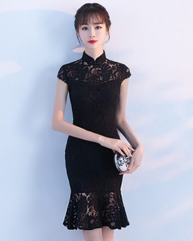 Short summer maiden dress slim mermaid round neck cheongsam