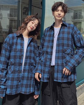 Woolen plaid couple clothes couples shirt