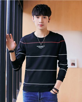 Autumn round neck hoodie pullover Korean style tops for men