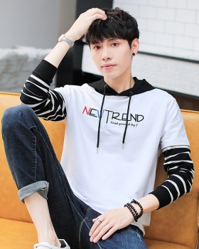 Long sleeve fashion hoodie Korean style T-shirt for men