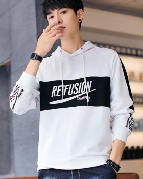 Hooded fashion embroidered shirts youth autumn hoodie for men