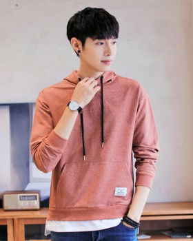 Hooded fashion hoodie autumn Korean style T-shirt for men