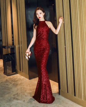 Slim long banquet temperament sequins evening dress for women