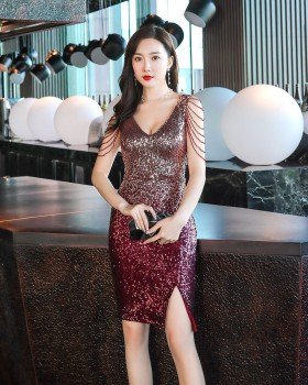 Sequins black party evening dress lady banquet short dress