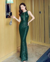 Long noble banquet mermaid slim sequins evening dress
