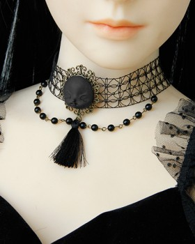 Chain halloween tassels pearl witch necklace