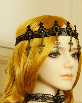 Lace black headband crosses vampire hair band