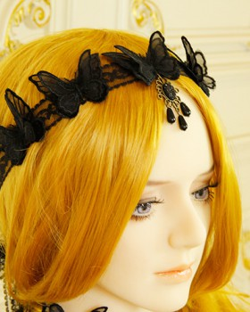 Lace gauze headband butterfly black headwear